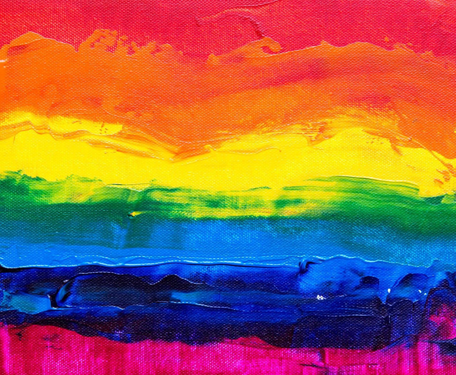 Painting of rainbow pride flag