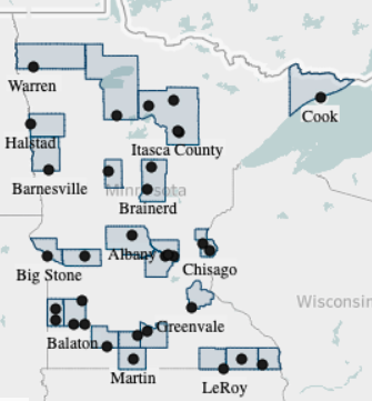 Map of Telecommuter Forward! certified cities and counties. Cities and counties are located throughout the sate in every region, although only three are located in the twin cities metro.